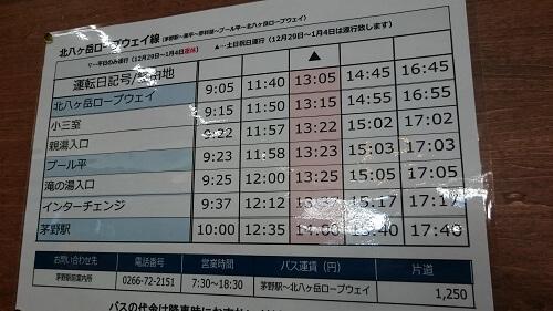 北八ヶ岳茅野駅バス