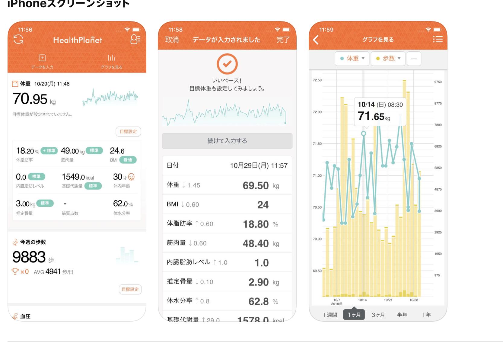 タニタ体重計のアプリ
